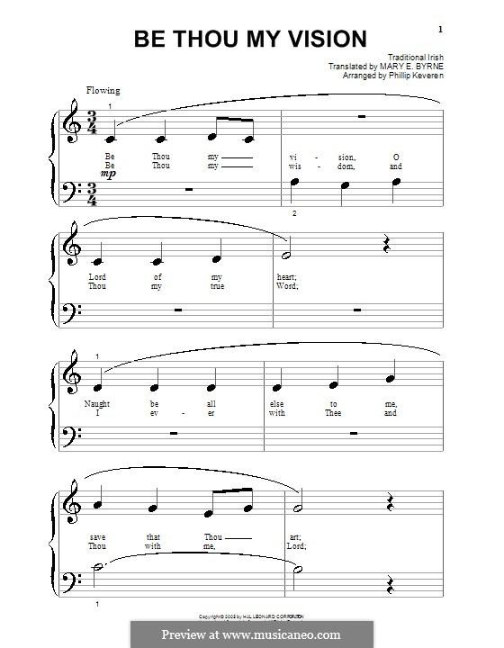 Be Thou My Vision: Für Klavier (sehr leichte Fassung) by folklore