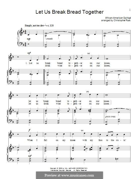 Let Us Break Bread Together: Für Stimme und Klavier (oder Gitarre) by folklore