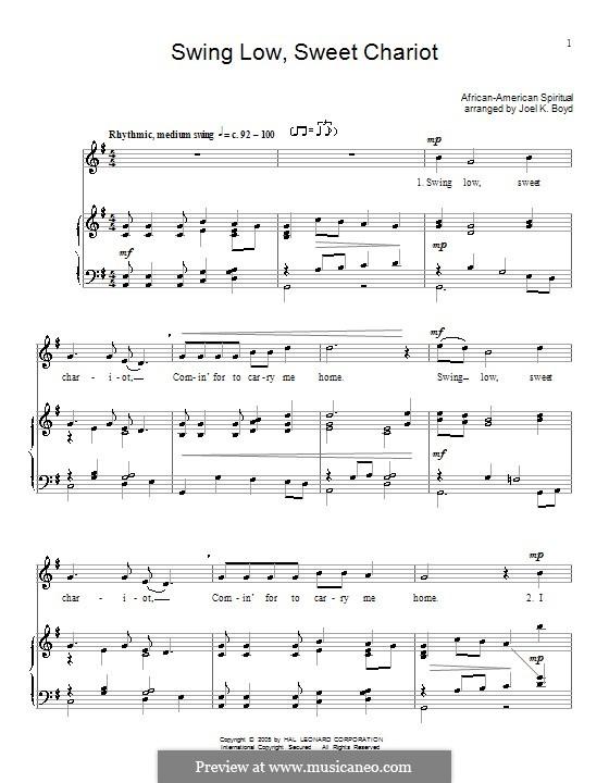 Swing Low, Sweet Chariot: Für Stimme und Klavier (oder Gitarre) by folklore