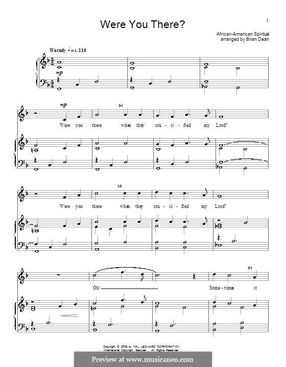 Were You There: Für Stimme und Klavier (oder Gitarre) by folklore