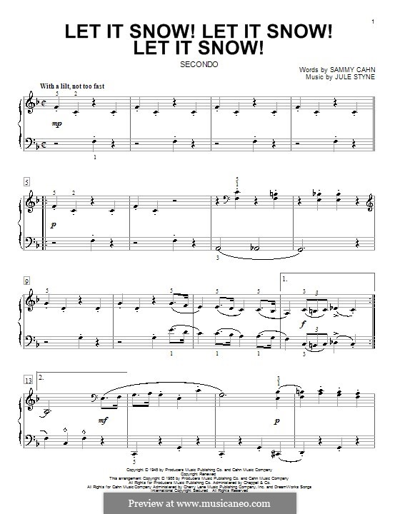 Let It Snow! Let It Snow! Let It Snow!, for Piano: Version for four hands by Jule Styne