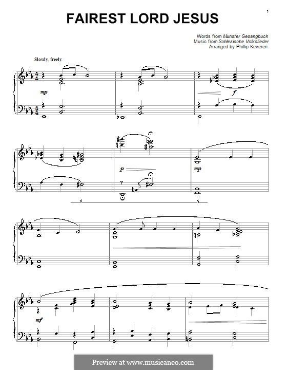 Fairest Lord Jesus: Für Klavier (Es-Dur) by folklore