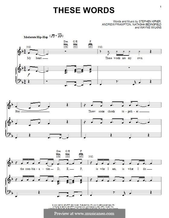 These Words (Natasha Bedingfield): Für Stimme und Klavier (oder Gitarre) by Andrew Frampton, Stephen Alan Kipner, Wayne Wilkins