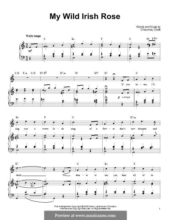 My Wild Irish Rose: Für Stimme mit Klavier oder Gitarre (Ronan Tynan) by Chauncey Olcott