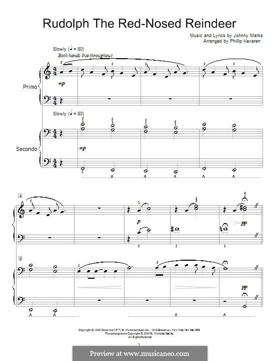 Rudolph the Red-Nosed Reindeer: Für Klavier, vierhändig by Johnny Marks
