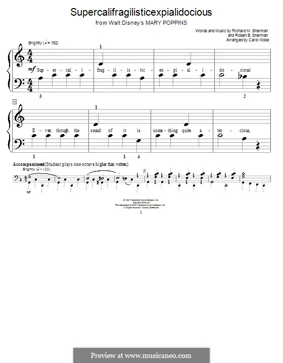 Supercalifragilisticexpialidocious (from Mary Poppins), for Piano: For a single performer (Julie Andrews) by Richard M. Sherman, Robert B. Sherman