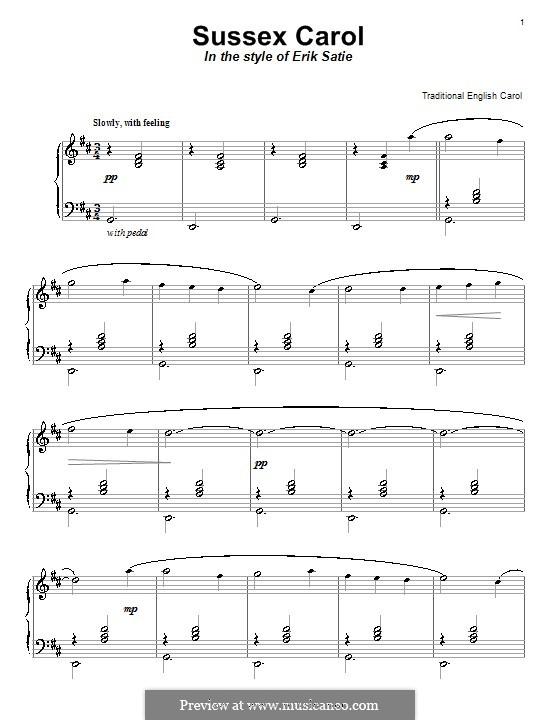 Sussex Carol: Für Klavier by folklore