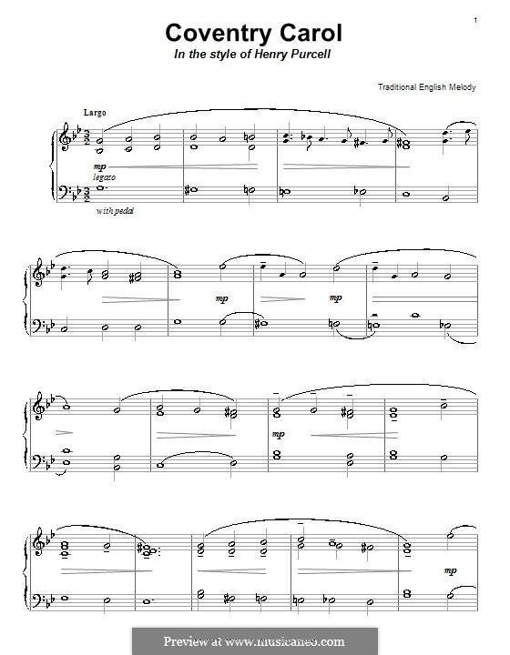 Coventry Carol: Für Klavier by folklore