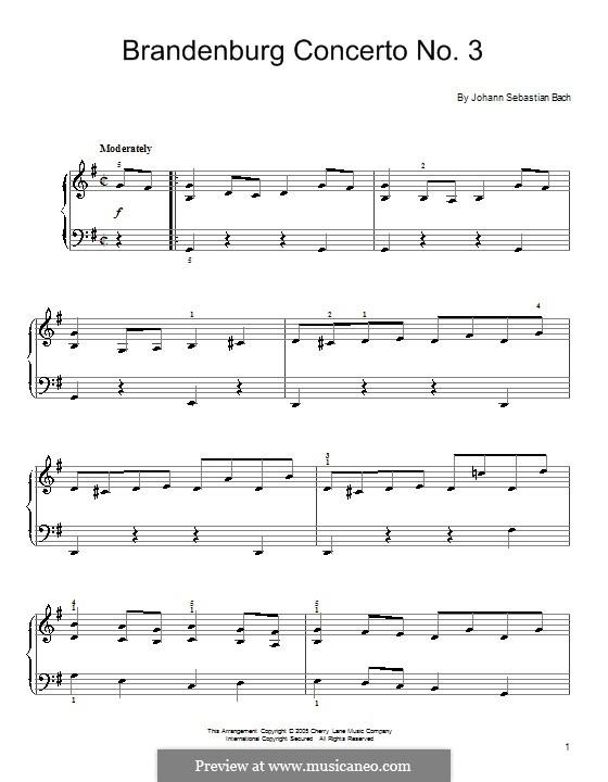 Brandenburgisches Konzert Nr.3 in G-Dur, BWV 1048: Teil I (Thema). Version für Klavier by Johann Sebastian Bach
