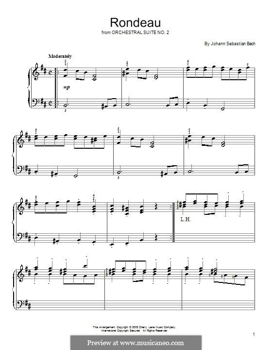 Orchestersuite Nr.2 in h-Moll, BWV 1067: Rondo. Version für Klavier by Johann Sebastian Bach