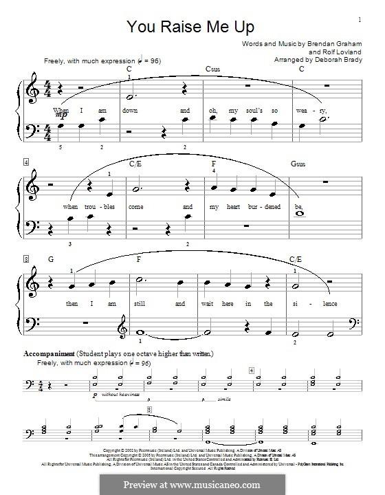 Piano version: Easy notes (C Major) by Brendan Graham, Rolf Løvland