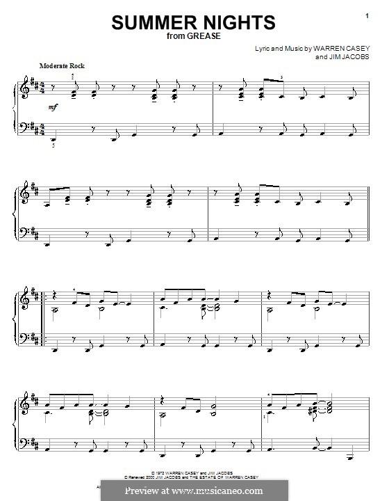 Summer Nights (from Grease): Für Klavier by Jim Jacobs, Warren Casey