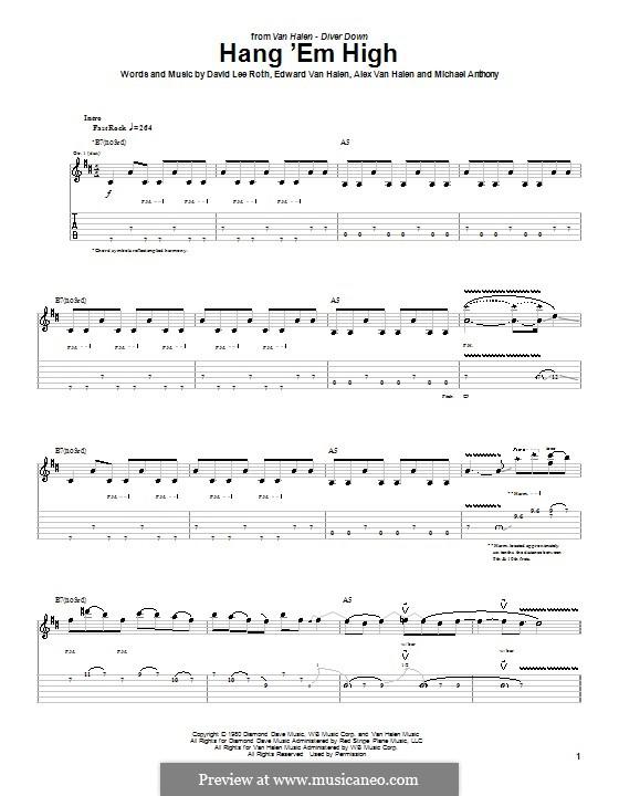 Hang 'Em High (Van Halen): Für Gitarre mit Tab by Alex Van Halen, Edward Van Halen, Michael Anthony