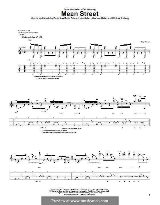 Mean Street (Van Halen): Für Gitarre mit Tab by Alex Van Halen, Edward Van Halen, Michael Anthony