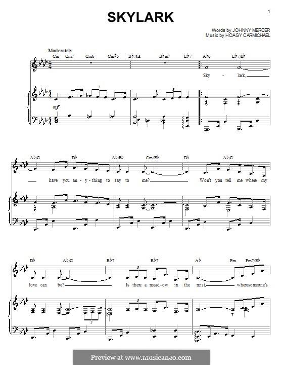 Skylark: Für Stimme und Klavier (oder Gitarre) by Hoagy Carmichael