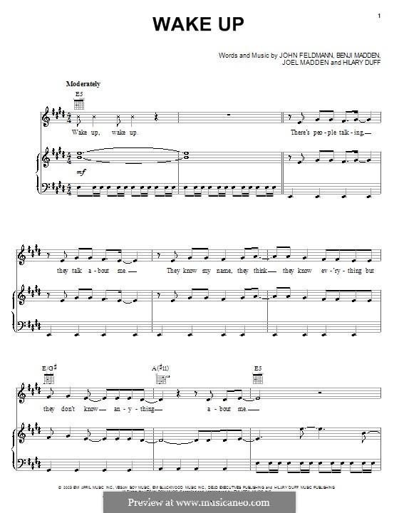 Wake Up (Hilary Duff): Für Stimme und Klavier (oder Gitarre) by Benji Madden, Joel Madden, John Feldmann