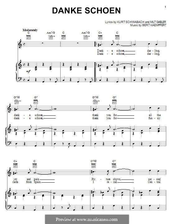 Danke Schoen (Wayne Newton): Für Stimme und Klavier (oder Gitarre) by Bert Kaempfert, Kurt Schwabach, Milt Gabler