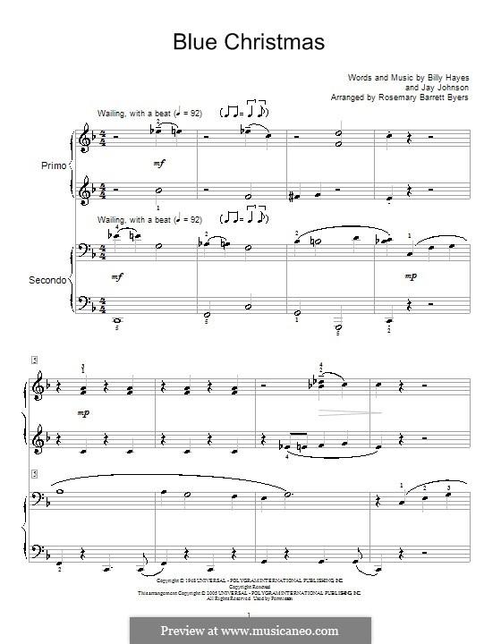 Blue Christmas, for Piano: Version für Klavier, vierhändig by Billy Hayes, Jay Johnson