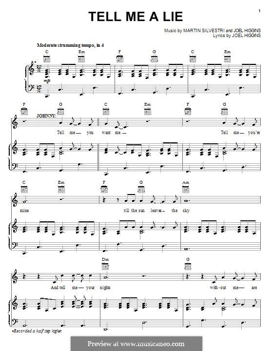 Tell Me a Lie (from Johnny Guitar): Für Stimme und Klavier (oder Gitarre) by Martin Silvestri