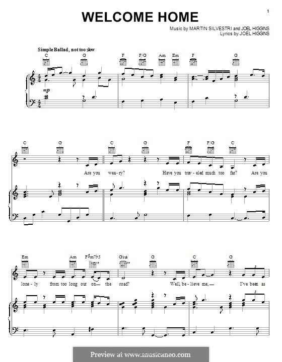 Welcome Home (from Johnny Guitar): Für Stimme und Klavier (oder Gitarre) by Martin Silvestri