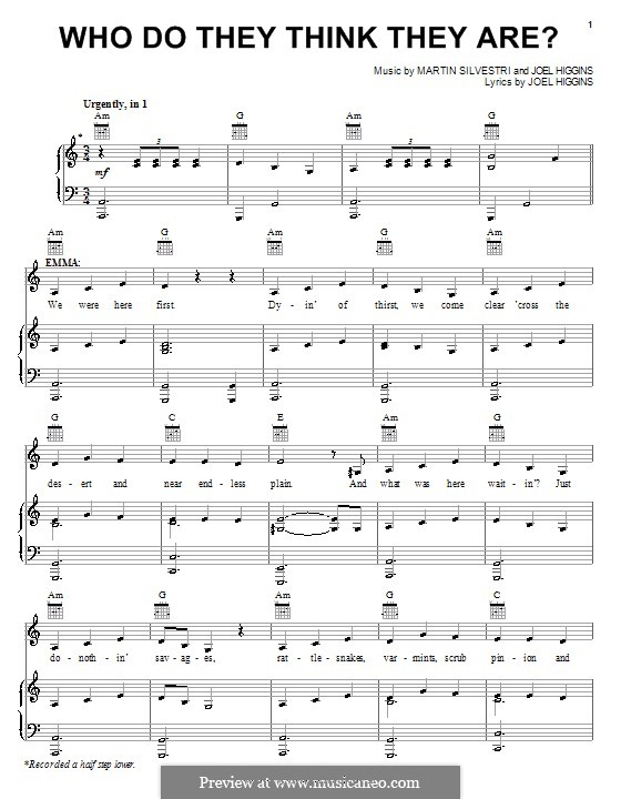 Who Do They Think They Are? (from Johnny Guitar): Für Stimme und Klavier (oder Gitarre) by Martin Silvestri