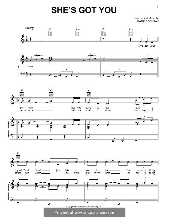 She's Got You (Patsy Cline): Für Stimme und Klavier (oder Gitarre) by Hank Cochran
