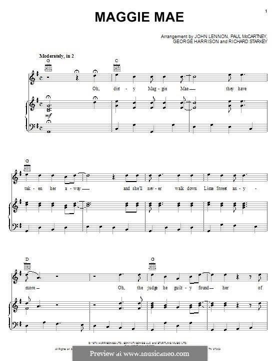 Maggie Mae (The Beatles): Für Stimme und Klavier (oder Gitarre) by George Harrison, John Lennon, Paul McCartney, Richard Starkey