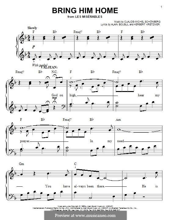 Bring Him Home: Für Klavier, leicht by Claude-Michel Schönberg