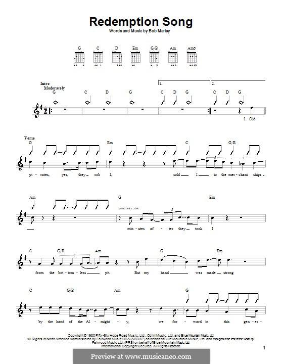 Redemption Song: Für Gitarre (mit Schlagmuster) by Bob Marley