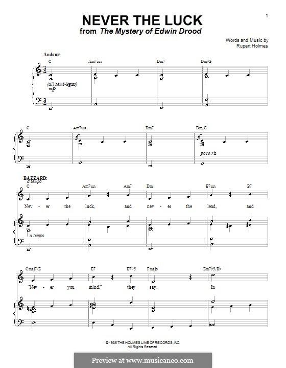 Never the Luck: Für Stimme und Klavier (oder Gitarre) by Rupert Holmes