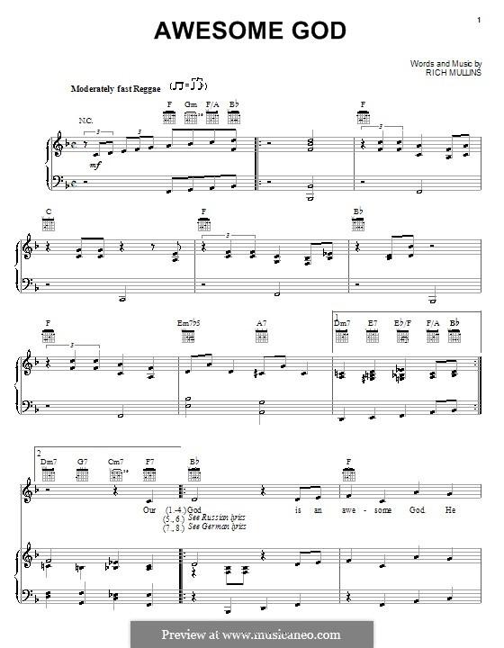 Awesome God: Für Stimme und Klavier (oder Gitarre) by Rich Mullins