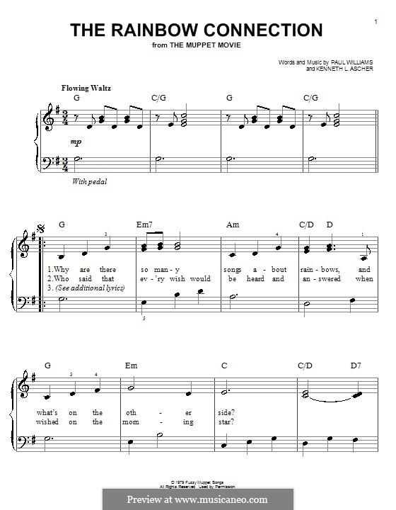 The Rainbow Connection (Kermit the Frog): Für Klavier, leicht by Paul H. Williams, Kenneth L. Ascher