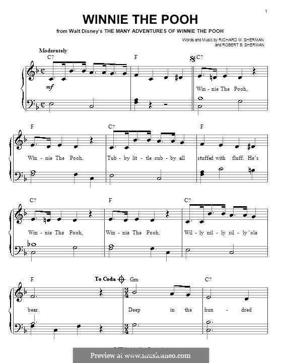 Winnie the Pooh: Für Klavier, leicht by Richard M. Sherman, Robert B. Sherman