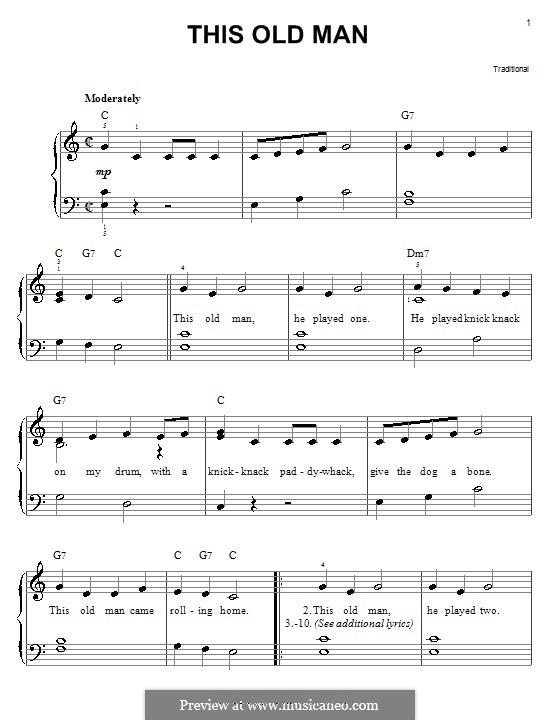 This Old Man: Für Klavier, leicht by folklore