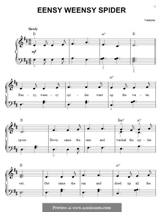Eensy Weensy Spider: Für Klavier, leicht by folklore