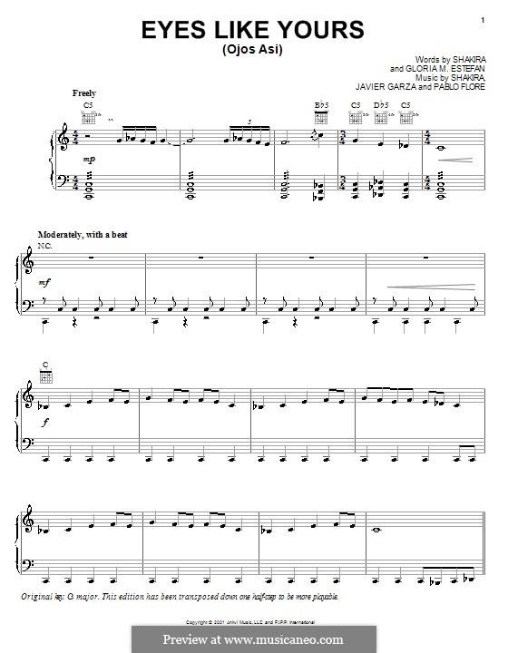 Eyes Like Yours (Ojos Asi): Für Stimme mit Klavier oder Gitarre (Shakira) by Gloria M. Estefan, Javier Garza, Pablo Flores