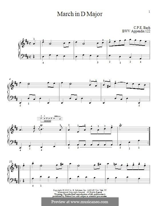Nr.16 Marsch in D Major, BWV Anh.122: Für Klavier by Johann Sebastian Bach