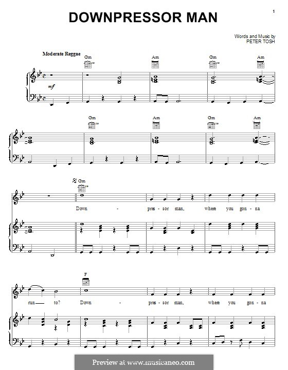 Downpressor Man: Für Stimme und Klavier (oder Gitarre) by Peter Tosh