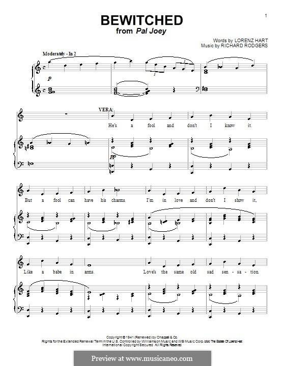 Bewitched (The Betty Smith Group): Für Stimme und Klavier (oder Gitarre) by Richard Rodgers