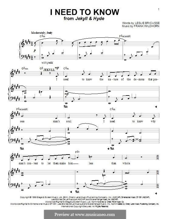 I Need To Know (from Jekyll & Hyde): Für Stimme und Klavier (oder Gitarre) by Frank Wildhorn