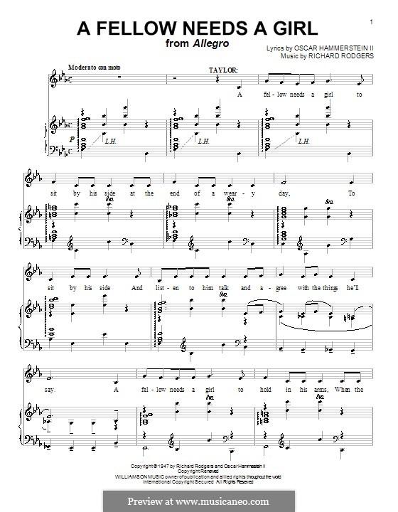 A Fellow Needs a Girl (from Allegro): Für Stimme mit Klavier oder Gitarre by Richard Rodgers