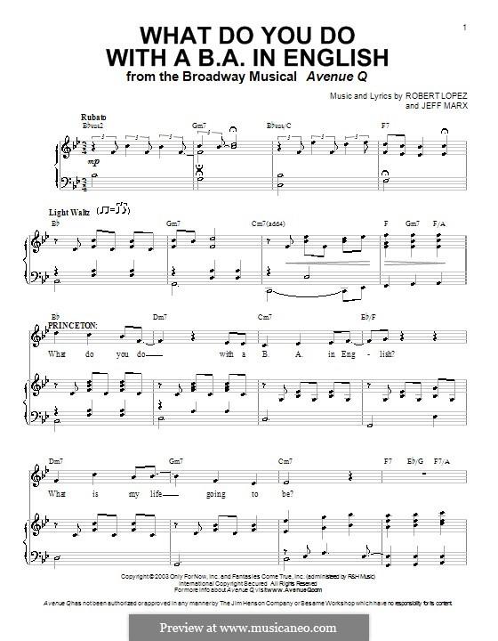What Do You Do with a B.A. in English (Avenue Q): Für Stimme und Klavier (oder Gitarre) by Jeff Marx, Robert Lopez