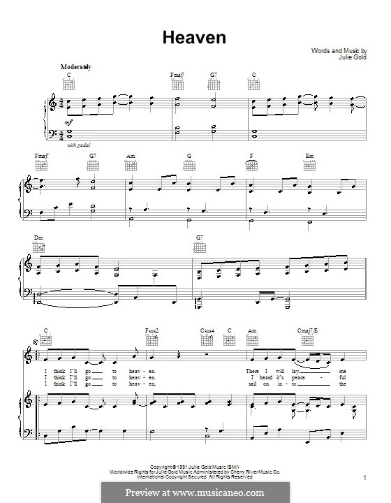Heaven: Für Stimme und Klavier (oder Gitarre) by Julie Gold