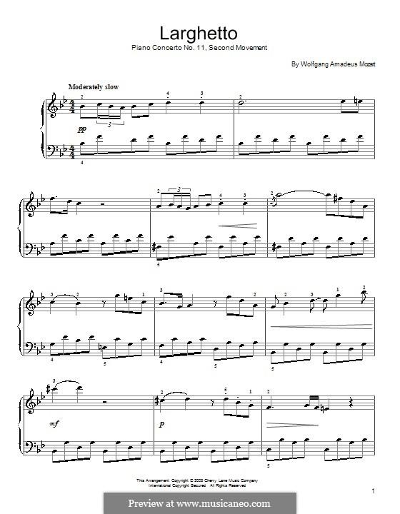 Konzert für Klavier und Orchester Nr.11 in F-Dur, K.413: Teil II (Fragment). Version für Klavier by Wolfgang Amadeus Mozart