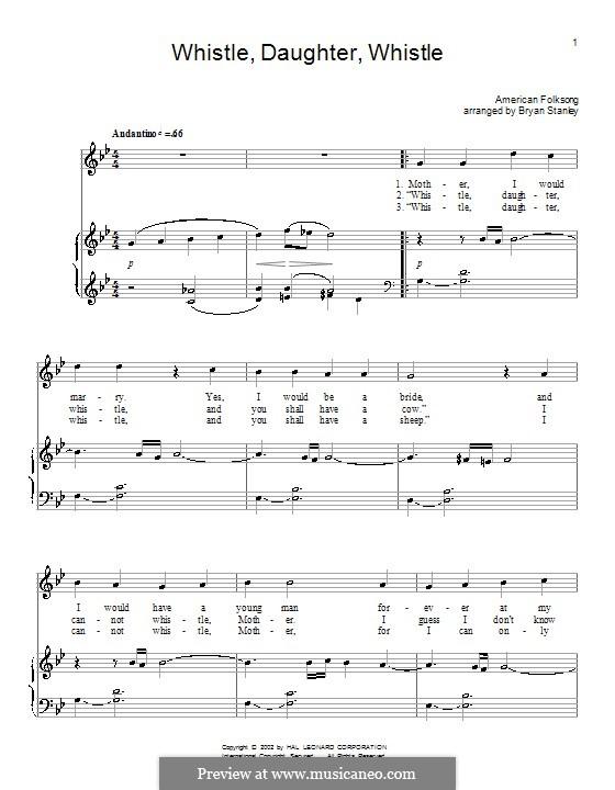 Whistle, Daughter, Whistle: Für Stimme und Klavier (oder Gitarre) by folklore