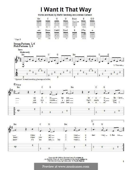 I Want It That Way (Backstreet Boys): Für Gitarre (Sehr leichte Fassung) by Andreas Carlsson, Max Martin