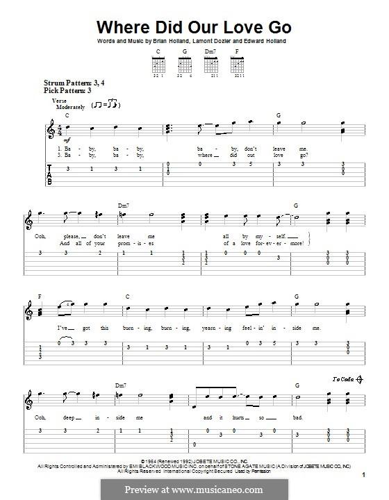 Where Did Our Love Go (The Supremes): Für Gitarre (Sehr leichte Fassung) by Brian Holland, Edward Holland Jr., Lamont Dozier