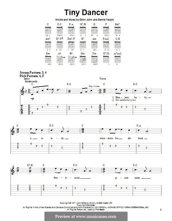 Tiny Dancer: Für Gitarre (Sehr leichte Fassung) by Elton John