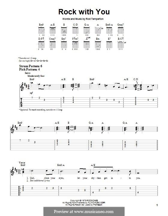 Rock with You (Michael Jackson): Für Gitarre (Sehr leichte Fassung) by Rod Temperton