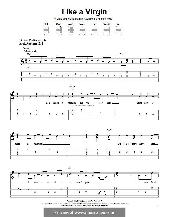 Like a Virgin (Madonna): Für Gitarre (Sehr leichte Fassung) by Billy Steinberg, Tom Kelly